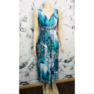 Tribal Abstract Maxi Dress Women Size Small Blue